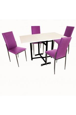 Kanatlı Katlanır - Gözde Mutfak Masa Takımı (Deri) (Fırsat Ürünü)