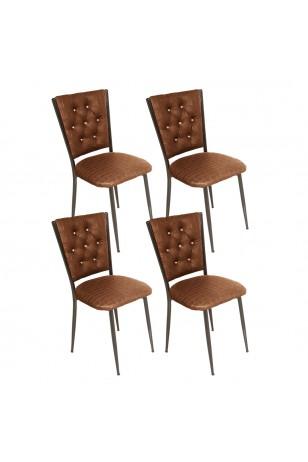Kapitoneli Sandalye ESB (Deri) (4 Adet) (Fırsat Ürünü)