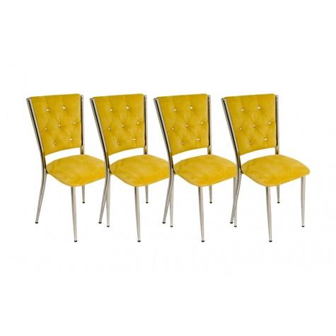 Kapitoneli Sandalye (Kumaş) (4 Adet) (Fırsat Ürünü)