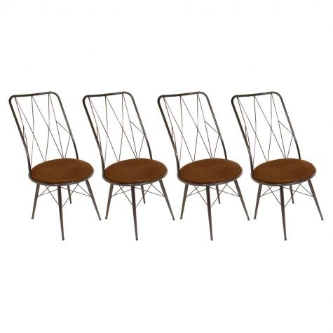 Royal Tel Sandalye (Kumaş) (Elektrostatik Boya) (4 Adet Fiyatıdır)