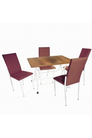 Klasik Katlanır - Gözde Mutfak Masa Takımı (Deri)